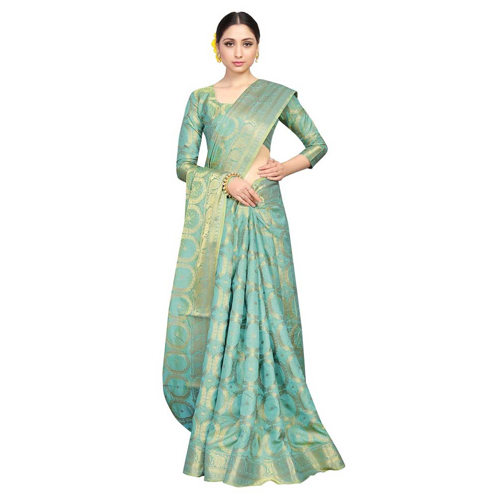 Cyan Firozi Color Lichi 2 Tone Silk Saree Weaved Saree With Blouse Piece