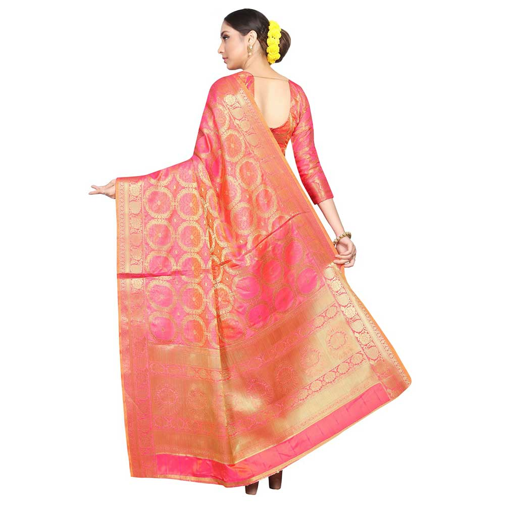 Pink Gajri Color Lichi 2 Tone Silk Saree Weaved Saree With Blouse Piece