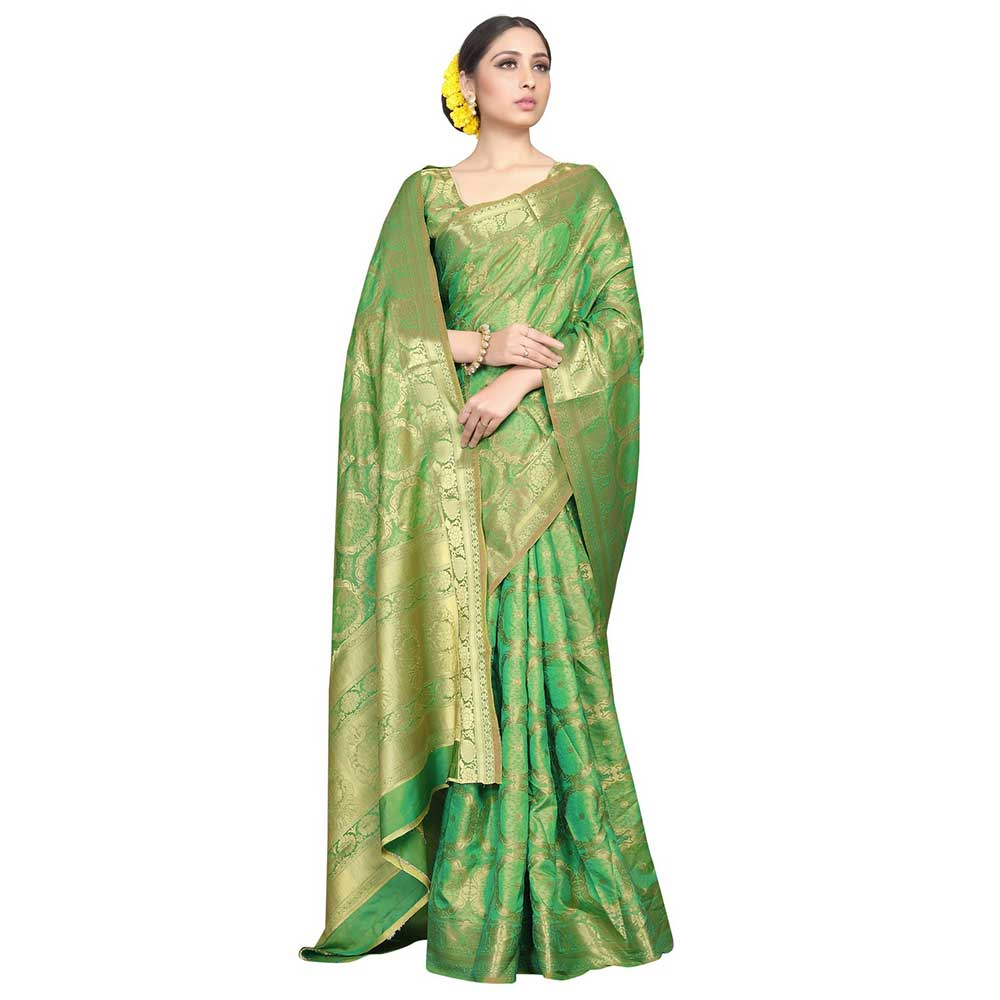 Green Color Lichi 2 Tone Silk SareeWeaved Saree With Blouse Piece