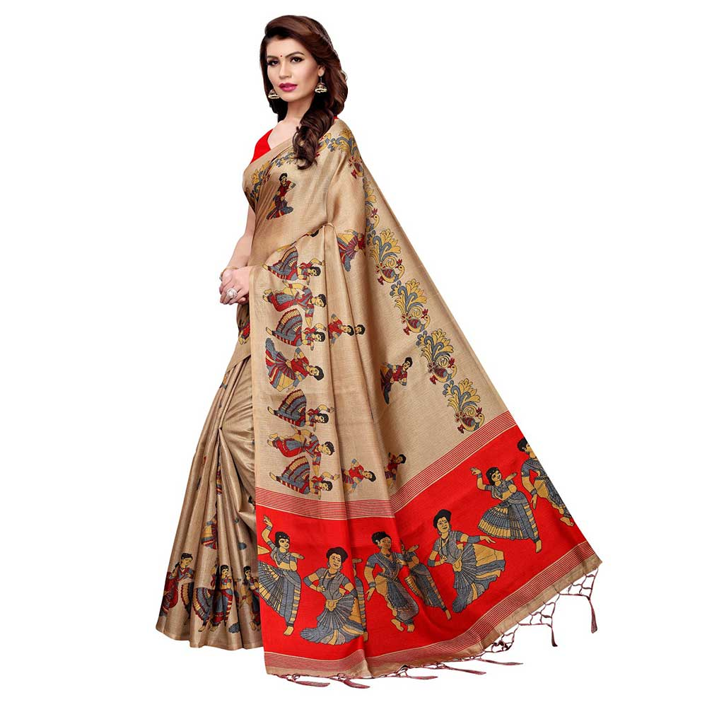 Chiku Beige Kathak Women's Khadi Silk Printed Saree With Blouse Piece