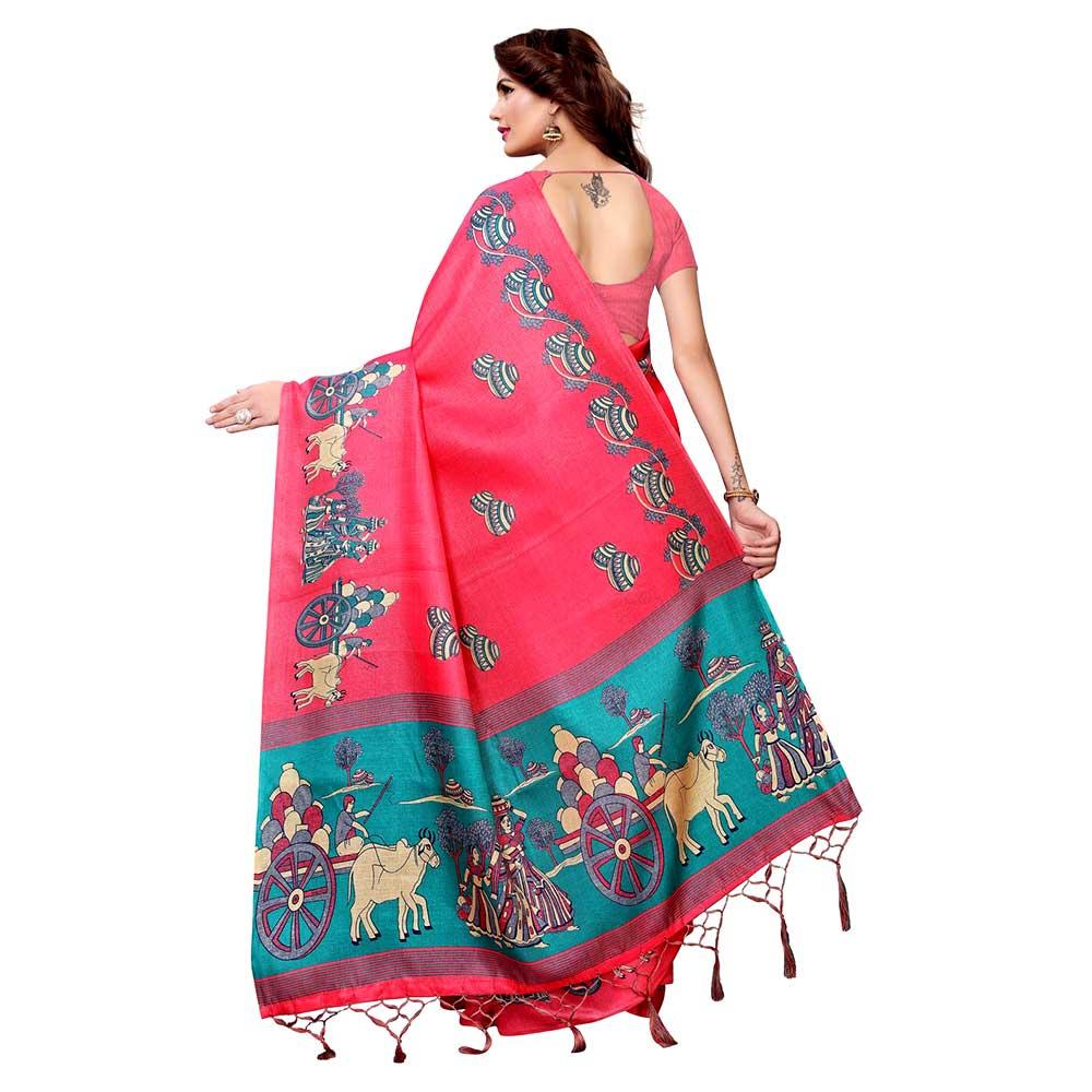 Pink Bullock Cart Village Scene Women's Khadi Silk Printed Saree With Blouse Piece