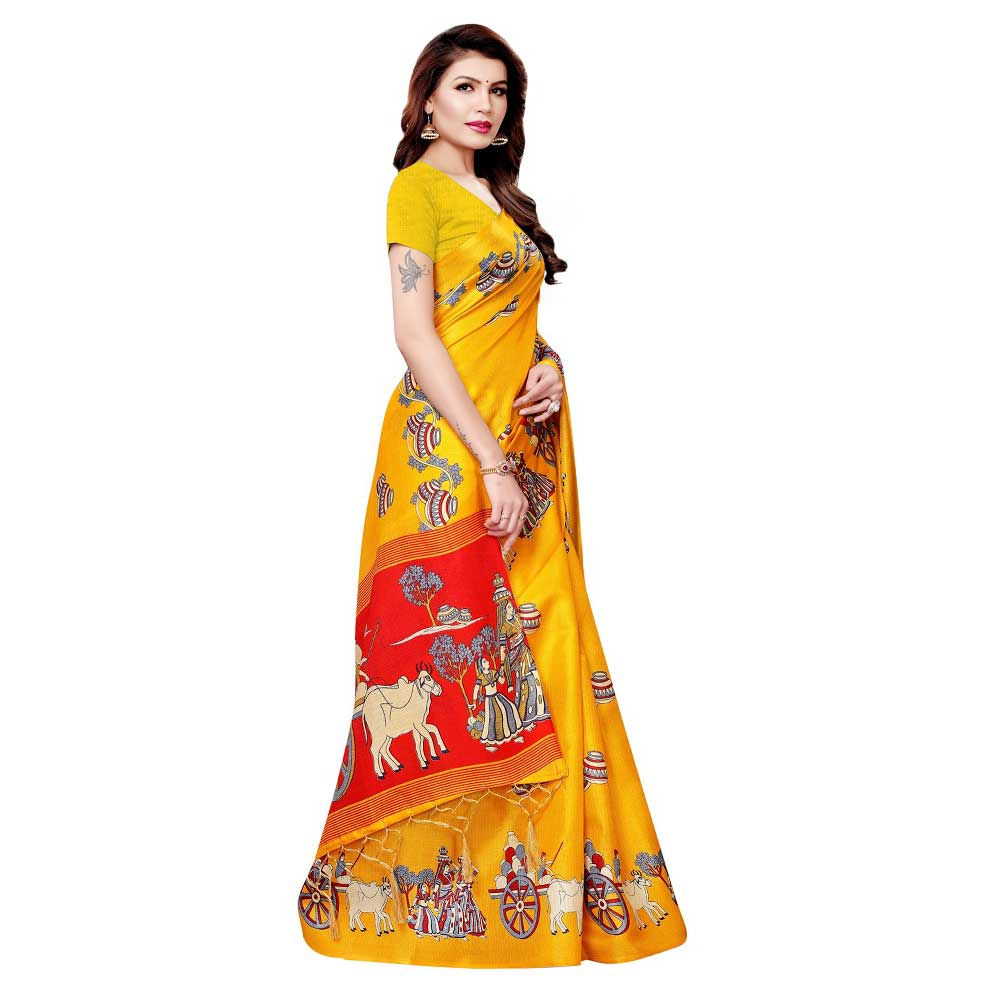 Yellow Bullock Cart Village Scene Women's Khadi Silk Printed Saree With Blouse Piece