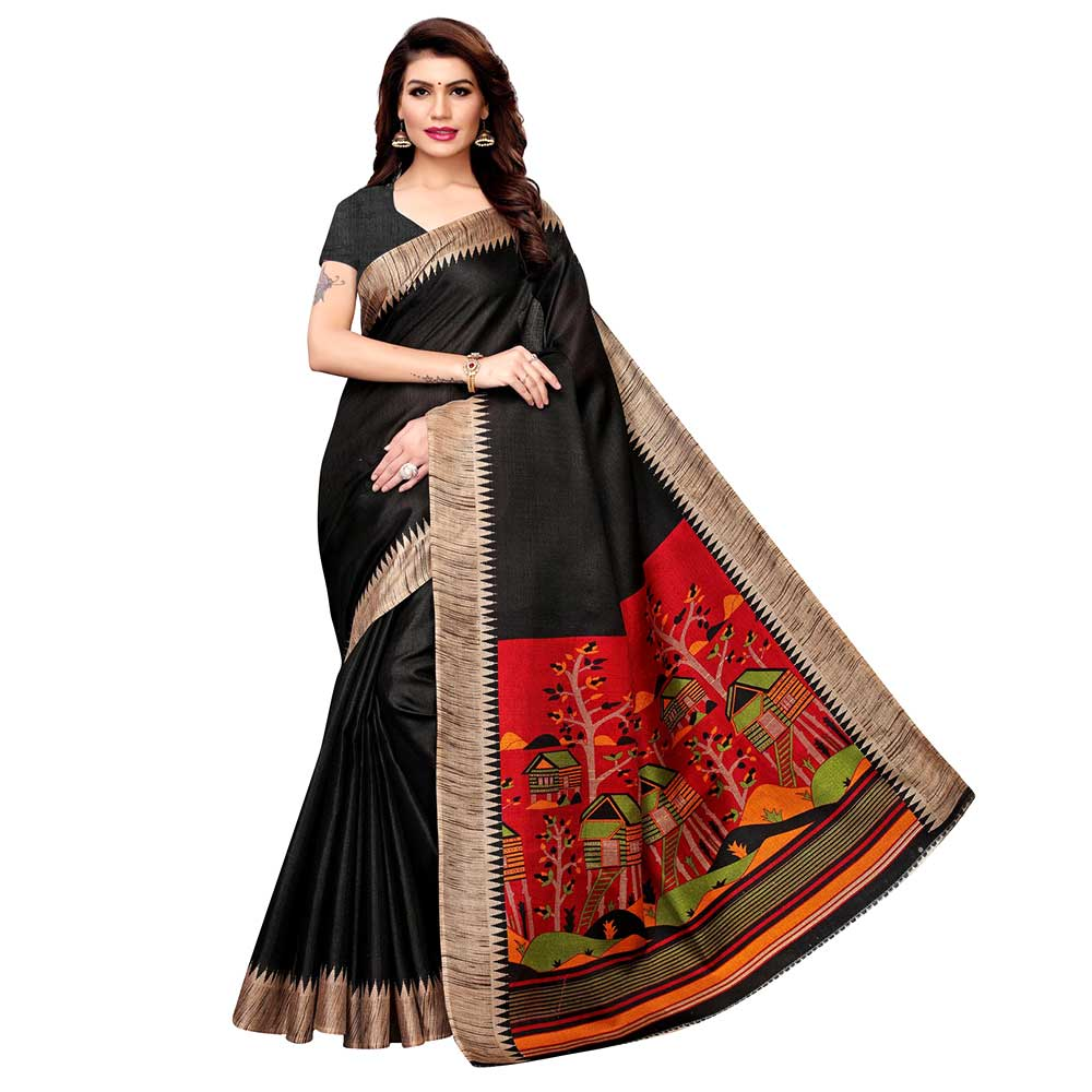 Black Khadi Silk Printed Kalamkari Saree With Tessle And Blouse Piece