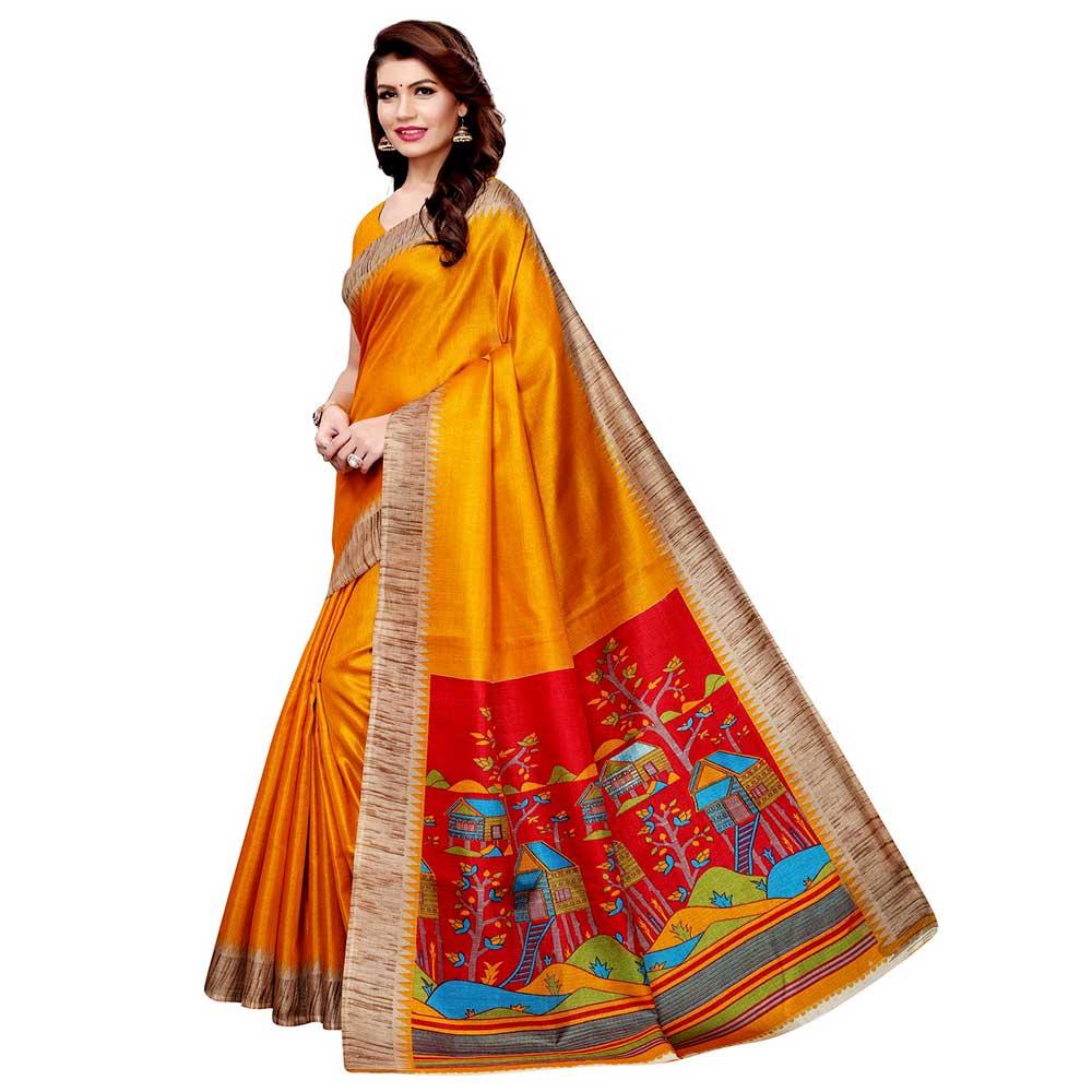 Yellow Khadi Silk Printed Kalamkari Saree With Tessle And Blouse Piece