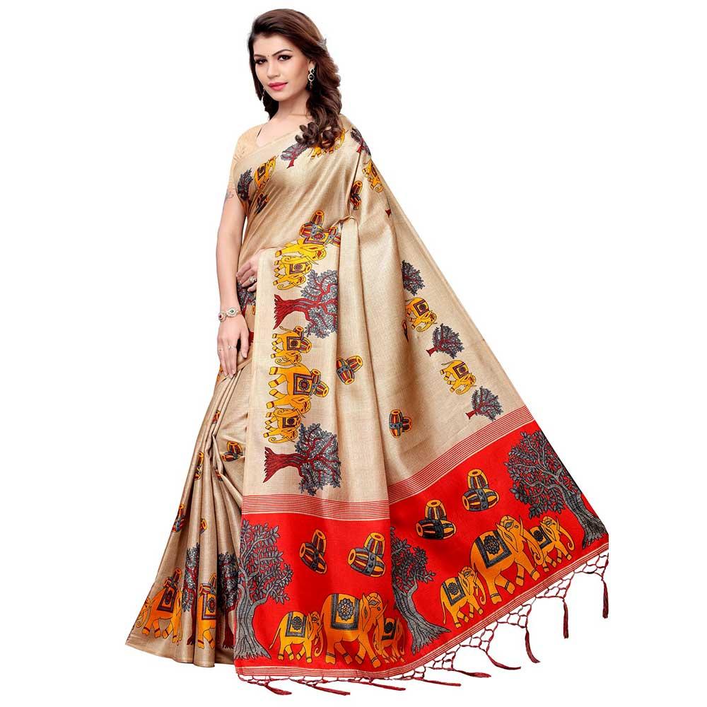 Chiku Beige BaraatCasual Khadi Silk Printed Kalamkari Saree With Blouse Piece Tessle