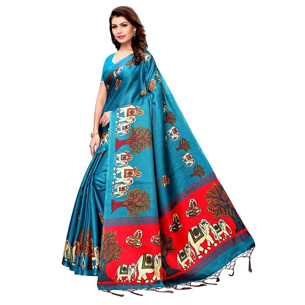 Sea Green BaraatCasual Khadi Silk Printed Kalamkari Saree With Blouse Piece Tessle