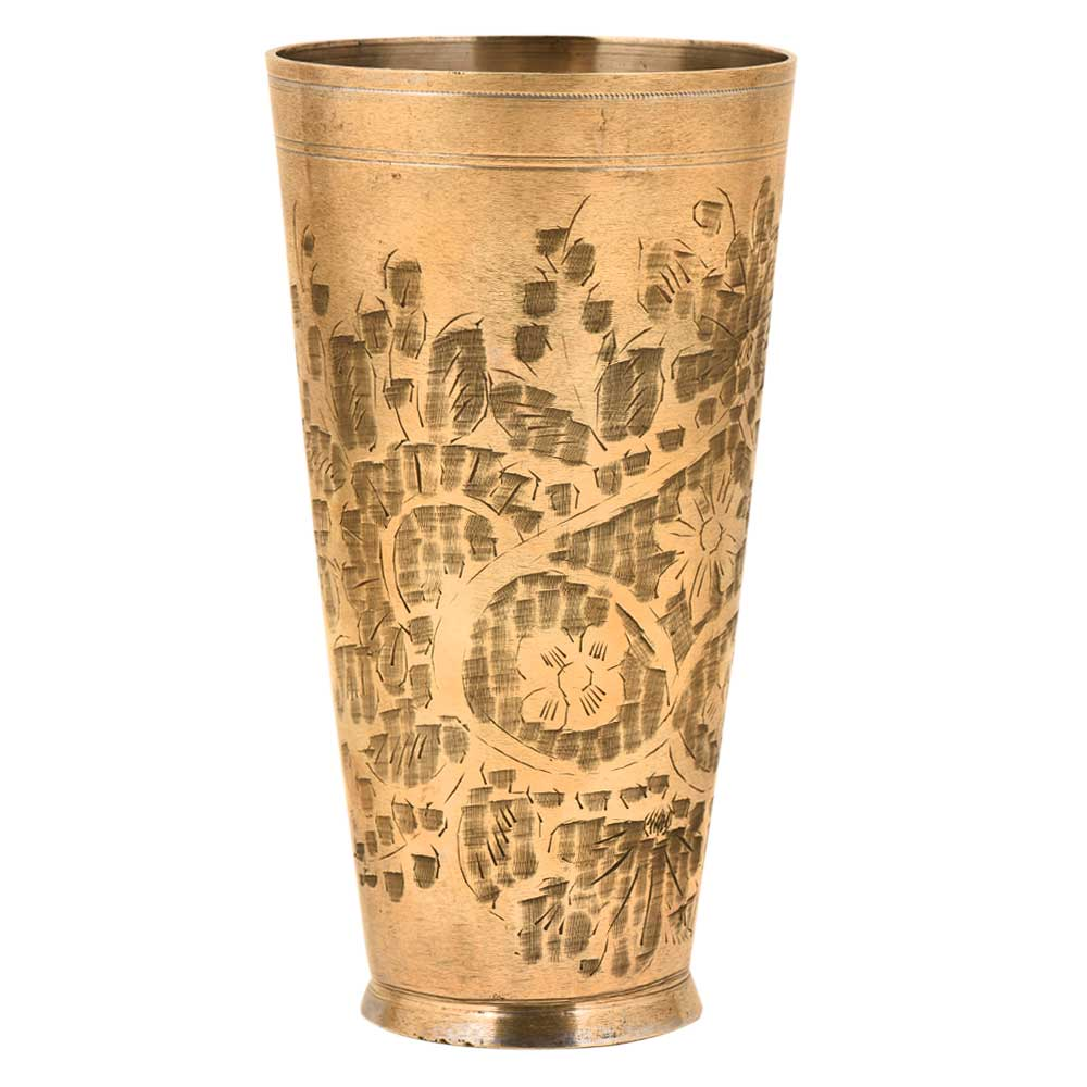 Hand Etched Traditional Brass Lassi Punjabi Glass