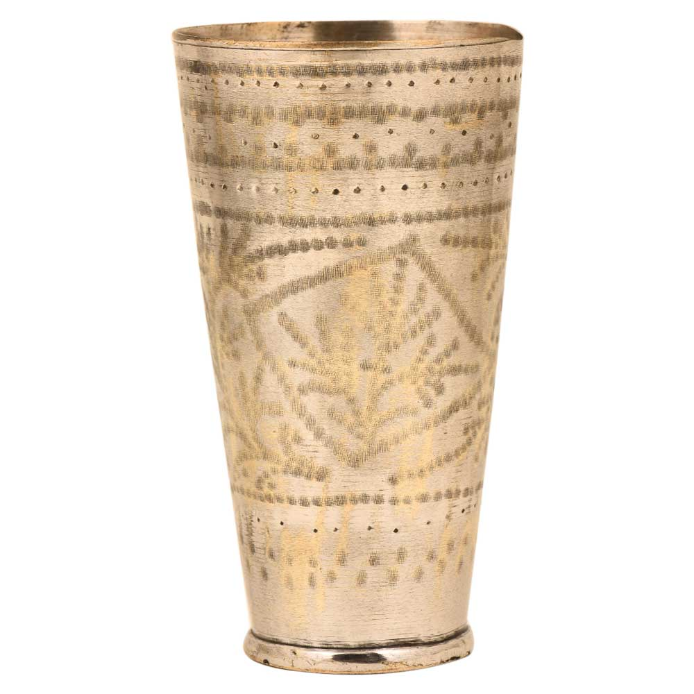 Engraved Border Design Brass Hand engraved North Indian Glass