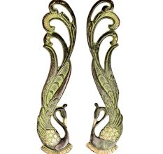 Brass Indian Peacock Door Handles With Green Patina