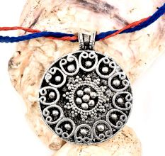 Round Silver Aluminum  Metal Pendant Necklace With Tribal Style Inlay Work