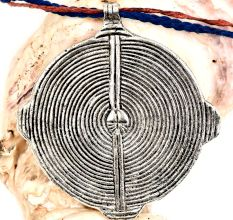 Silver Aluminum Metal Tribal Spiral Round Disc Pendant Necklace