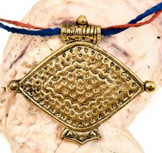 Unique Tribal Fish Design Engraved Golden Aluminum Pendant Necklace