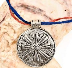 Tribal Style Round Big Flower In Centre Silver Aluminium Metal Pendant Necklace