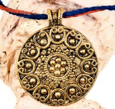 Round Tribal Embossed Floral Design On Golden Aluminum Pendant Necklace