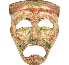Multicolored Brass Tragedy Theater Mask Wall Hanging