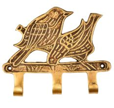 Hand Crafted Two Brass Birds With Three Wall Hooks