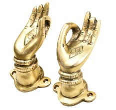 Brass Buddha Hand Meditation Pose Door Handles In Pair