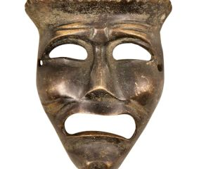 Brass Tragedy Theater Mask Wall Hanging�With Tiny Expression Lines With Patina