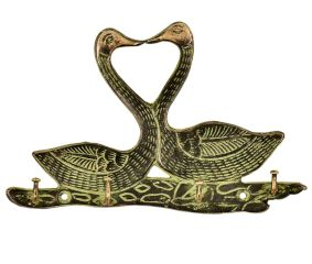 Two Brass Swan with 4 Hooks Crafted Key Holder With Patina