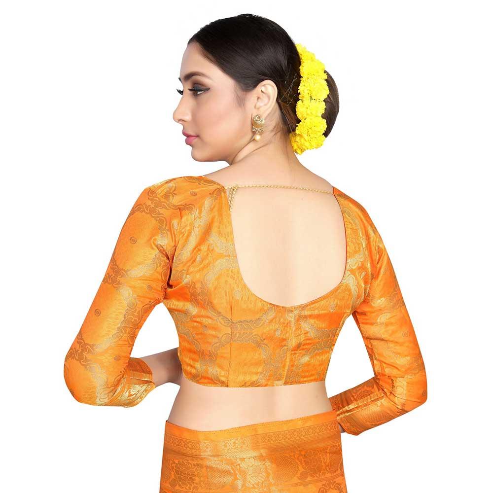 Orange Color Lichi 2 Tone Silk SareeWeaved Saree With Blouse Piece