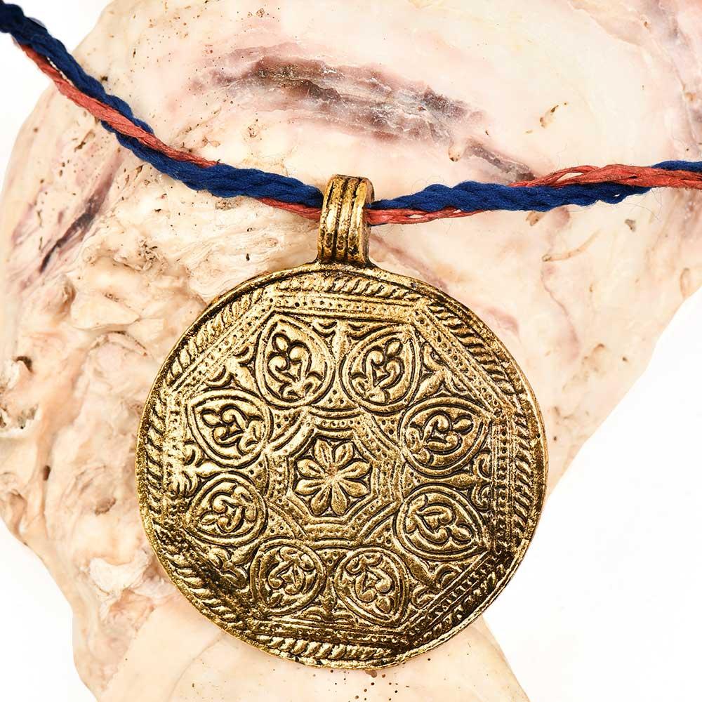 Round Engraved Floral Design Golden Aluminum Metal  Tribal Pendant Necklace