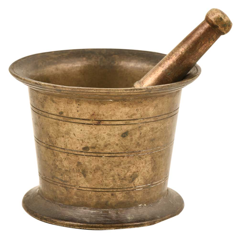 Indian Brass Mortar And Pestle