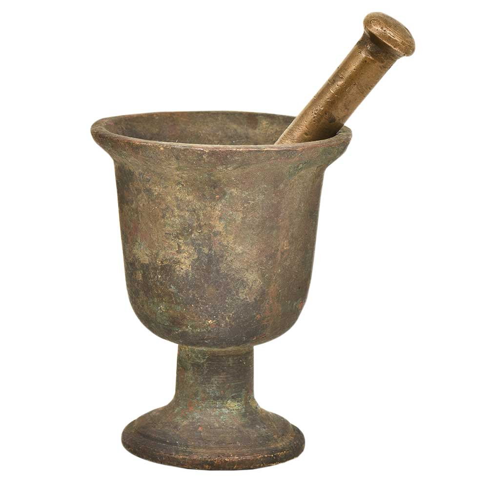 Indian kitchen Brass Urn Shaped Mortar and Pestle