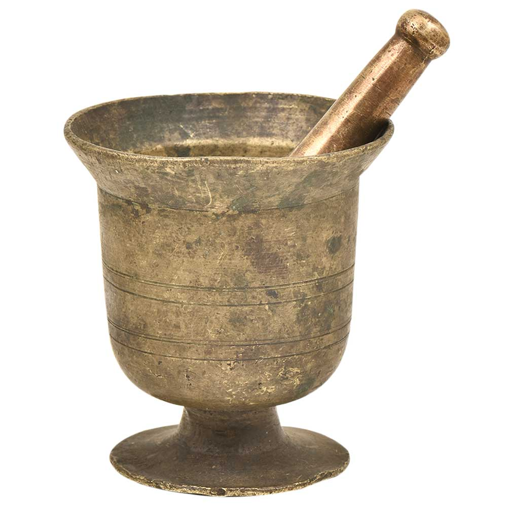 Old Solid Thick Footed Brass Urn Shaped Mortar and Pestle