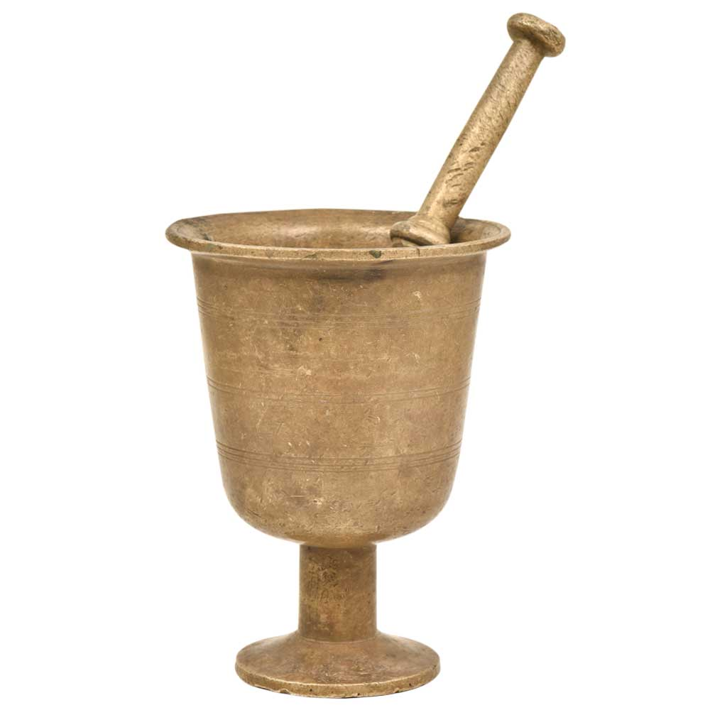 Rare Footed Brass Mortar And Pestle Medicine