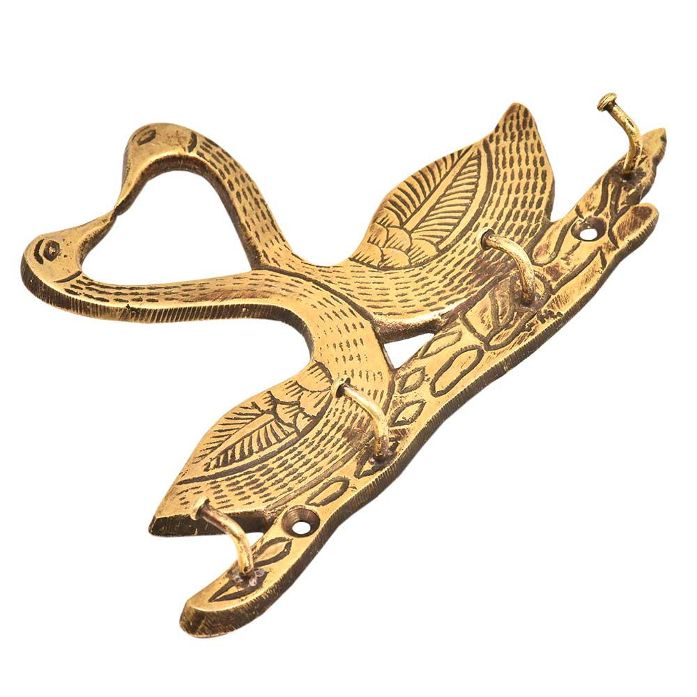 Two Golden  Brass Swan with 4 Hooks Crafted Key Holder