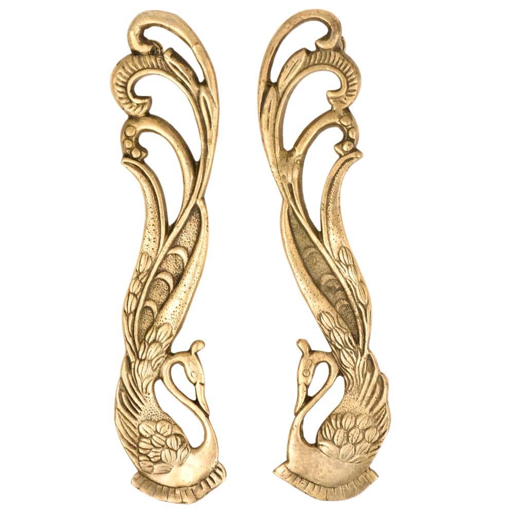 Hand made Brass Indian Peacock Door Handles