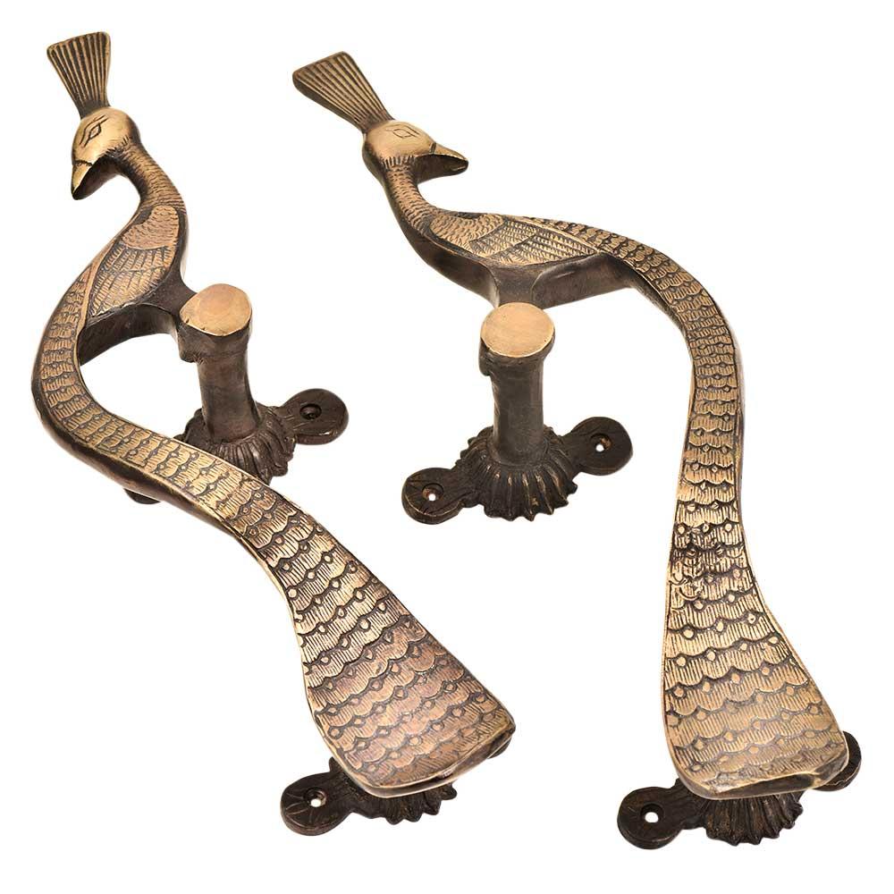 Hand Made Brass Peacock Door Handle Showpiece