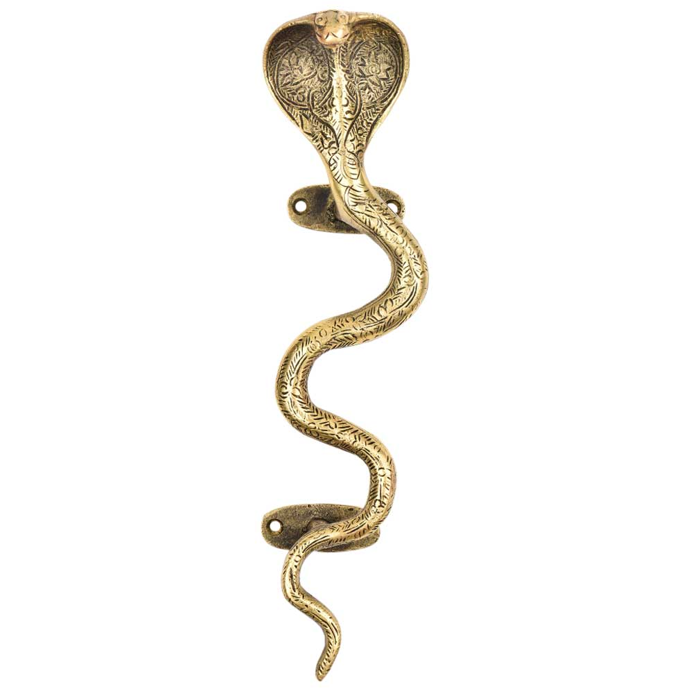 Finely Engraved Floral Pattern Brass Cobra Snake Handle