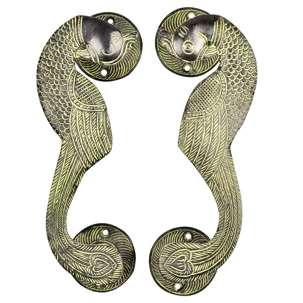 Traditional Brass Curved Peacock Handle With Patina