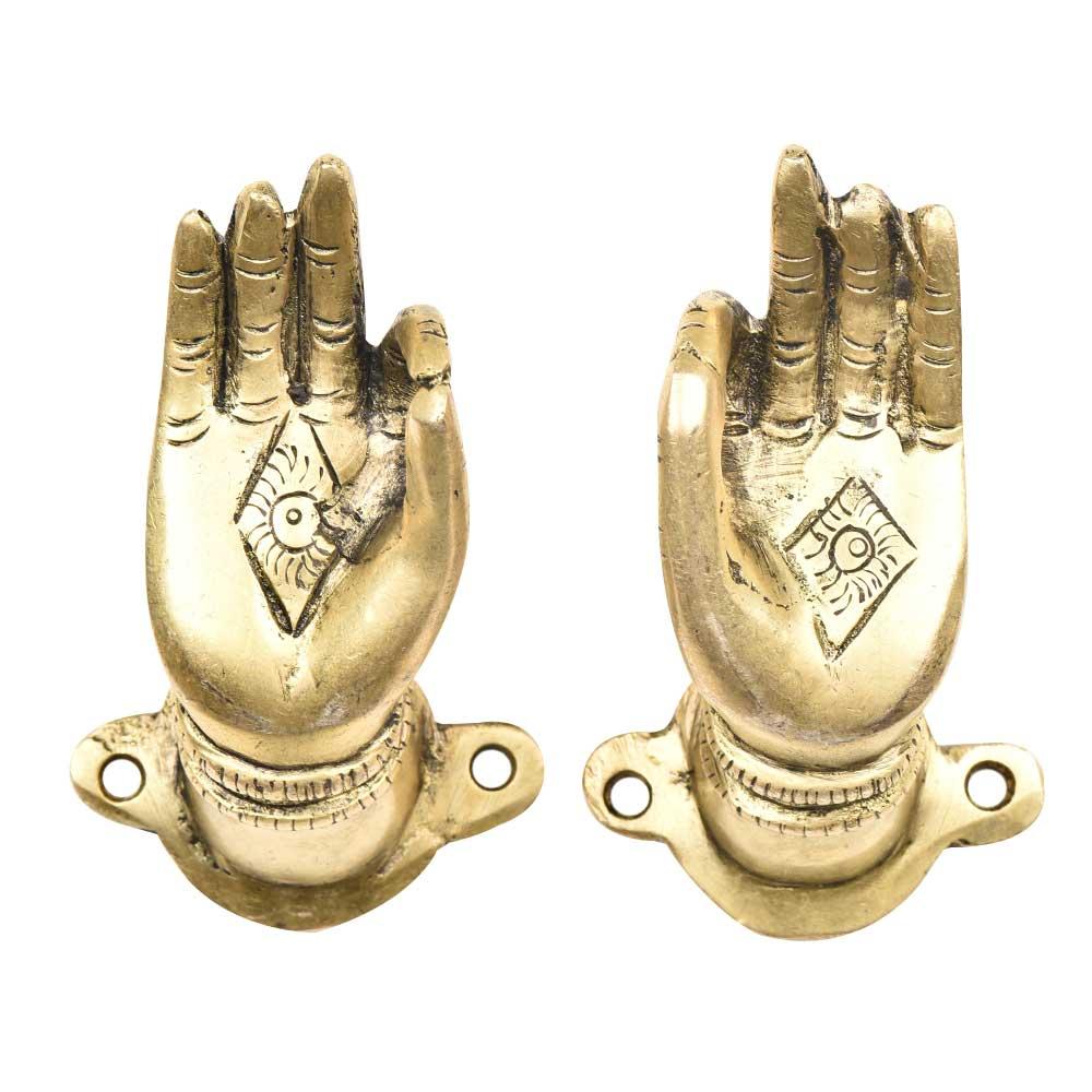 Brass Buddha Hand Meditation Pose Door Handles In Pair