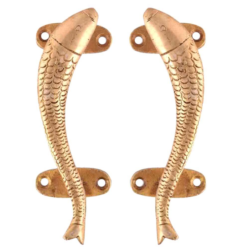 Carved Golden Brass Fish Door Handle