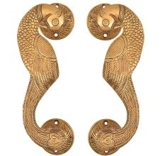 Golden Brass Curved Peacock Handle
