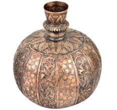 Copper Repousse Floral Surahi Or Pot