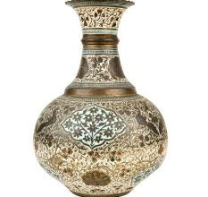 Decorative Floral Design Enameled Brass vase