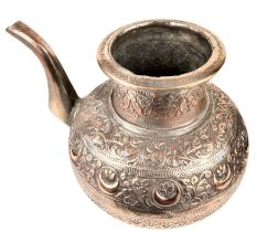 Floral Design Engraved Copper Pot With A Stout