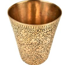 Handcrafted Mughal Style Floral Inlay Engraved Brass Glass