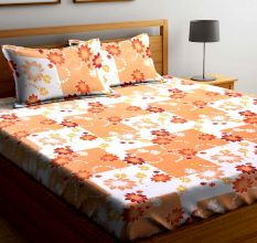 Orange Floral Square Blocks  104 TC Cotton 1 Queen Bedsheet with 2 Pillow Covers