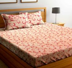 Light Orange Floral Motifs 104 TC Cotton 1 Queen Bedsheet With 2  Pillow Covers