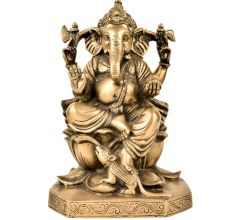 Brass God Ganesha Statue Sitting On Lotus Lord And Mooshak