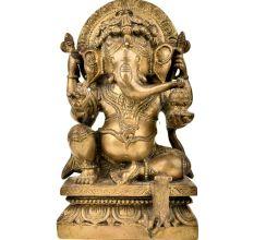Sitting Worship Brass Ganesha Elephant God Statue
