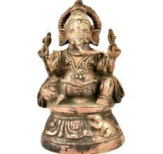 Brass Ganesha Murti Sitting Statue With Mooshak
