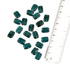 Pine Green Rectangle With Curved Edges Loose Glass Beads For Making Jewelry (12 in Pack)