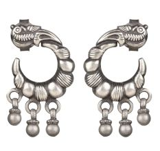 92.5 Sterling Silver Earrings Crescent Moon Peacock Earrings