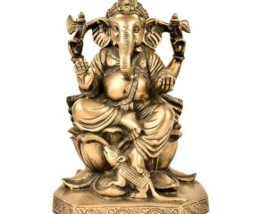 Brass God Ganesha Statue Sitting On Lotus Lord And Mooshak