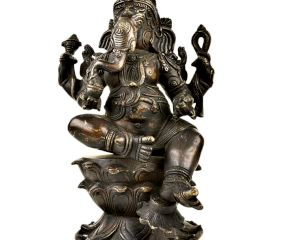 Brass Lord Ganesha seated Relaxed on Lotus Lord With Black Polish